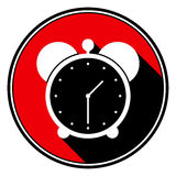 Red round with black shadow,white alarm clock icon Royalty Free Stock Photography