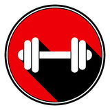 Red round with black shadow - white dumbbell icon Stock Photo