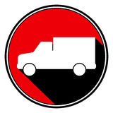 Red round with black shadow - white lorry car icon stock illustration