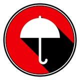 Red round with black shadow - white umbrella icon Stock Photos