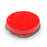 Red round blank 3d button with chrome ring. stock photos
