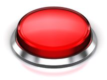 Red round button. Creative abstract internet web design and online communication business concept: 3D render illustration of the red glossy push press button or Stock Photo