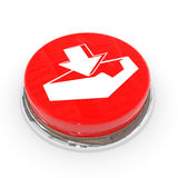 Red round button with download sign. Stock Photo