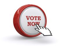 Vote now button. A red round button with the text 'vote now' and a hand shaped cursor pushing on it Stock Photo
