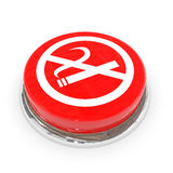 Red round button with white NO SMOKING sign. stock photos