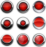 Red round buttons with chrome borders. Royalty Free Stock Photo