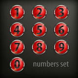Red round buttons with number on black Stock Photos