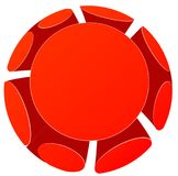 Red round 3d background. Red round 3d geometric background. Vector paper illustration Royalty Free Stock Image