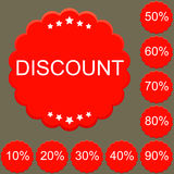 Red round discount labels set. Illustration Royalty Free Stock Photos