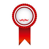 Red round emblem with ribbon icon Royalty Free Stock Photo
