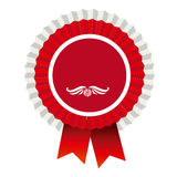 Red round emblem with ribbon icon Royalty Free Stock Images
