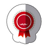 Red round emblem with ribbon icon Royalty Free Stock Image