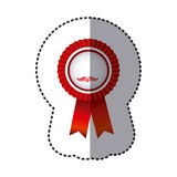 Red round emblem with ribbon icon Stock Photo