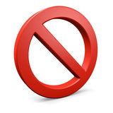 Red round forbidden symbol 2. Red forbidden symbol. Isolated on white. 3d illustration Stock Photos