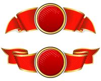 Red round frame with ribbon Royalty Free Stock Photography