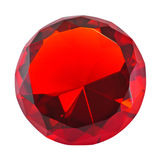 Red round gemstone. Isolated on white, front view royalty free stock images