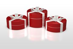 Red round gift box with white ribbon Stock Photography