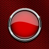 Red round glass button with metal frame on red perforated background. Vector 3d illustration vector illustration