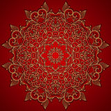 Red round gold lace ornament Royalty Free Stock Photos