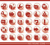 Red round icons. A set of web icons Stock Photography