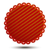 Red round knitted serviette Stock Photos