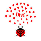 Red round lady bug insect with hearts. Cute cartoon character. Word Love Greeting card. Happy Valentines Day. White background. Fl Royalty Free Stock Images