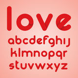 Red round modern letters alphabet. Vector illustration Stock Photography