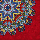 Red round pattern in ukrainian oriental ethnic Stock Images