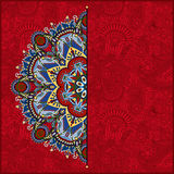 Red round pattern in ukrainian oriental ethnic Royalty Free Stock Photo