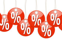 Red round pendants with % signs - endless. Endless red round pendants with percentage Signs Royalty Free Stock Photography