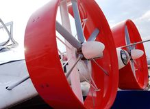 Red round propeller airplane closeup detail. Taken at MAKS (International Aerospace Salon) airshow in Zhukovsky, Moscow region, Russia Royalty Free Stock Images
