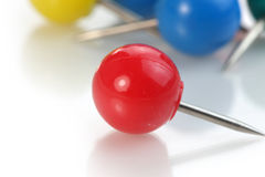 Red round push pin Royalty Free Stock Images