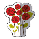 Red round roses with leaves icon. Illustraction design image Royalty Free Stock Photography
