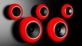 Red round speakers Royalty Free Stock Photos