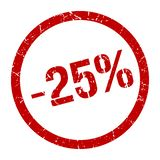 -25% stamp. 25% red round stamp. sale. discount. price tag stock illustration