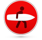 Red round stop sign with man and surfboard Stock Photos