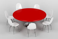 Red round table and white chairs Royalty Free Stock Image