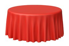 Red round tablecloth. Isolated on white, 3d illustration Stock Photos