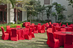 Red round tables. Red round dinner tables outdoor Royalty Free Stock Photography