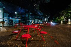 Red round tables at Kunsthaus Graz art museum in Graz Stock Photography