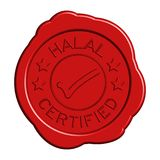 Red round wax seal of wording halal certified with mark icon. On white background stock illustration