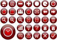 Red round web button set Royalty Free Stock Images