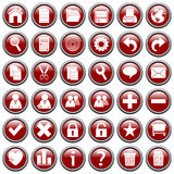 Red Round Web Buttons [1] Royalty Free Stock Photography