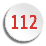 Red 112 in round white button with shadow. Red 112 in round white button Royalty Free Stock Photo