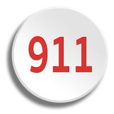 Red 911 in round white button with shadow. Red 911 in round white button vector illustration