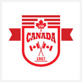 Red rounded banner Canada 150 and flags emblem icon. On white background Stock Photo