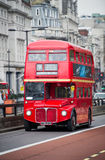 Red Routemaster Double Decker Bus on the street Stock Photo