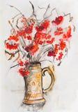 Red rowan. Bright bunch of rowan berries Royalty Free Stock Photography