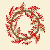 Red rowan wreath Stock Photo