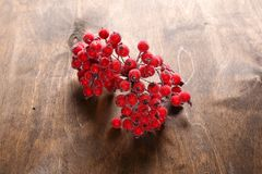 Red rowanberry on the table Royalty Free Stock Photo
